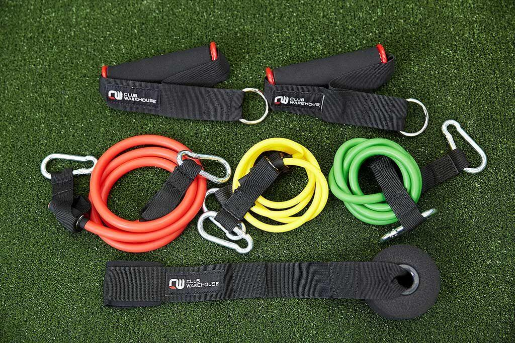 CW EXERCISE TUBING 1 of each yellow,green,red & pair handles & door anchor