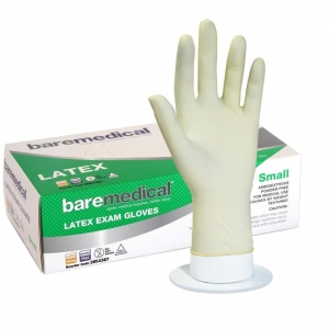 BARE MEDICAL LATEX POWDER FREE GLOVES- Small - Click for more info