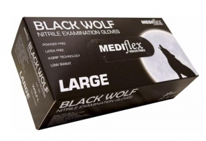 GLOVES NITRILE BLACK WOLF SMALL BOX 100 - Click for more info