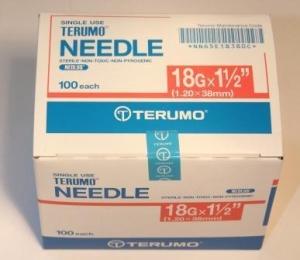 Terumo Needles 18g X 38mm - Box 100