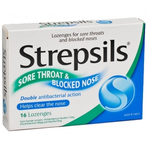 Strepsils SORE THROAT & BLOACKED NOSE LOZENGES - Click for more info