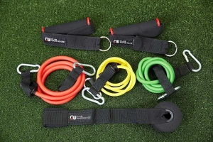CW EXERCISE TUBING 1 of each yellow,green,red & pair handles & door anchor - Click for more info